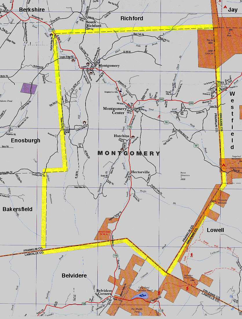 Town Map Montgomery Vermont